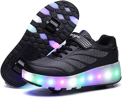 Axcer LED Luci Brillantini Scarpe Sportive con Rotelle Retrattile Singolo Ruote Skateboard Sneakers Outdoor Multisport Luminose Running Calzature da Ginnastica per Bambini Ragazze e Ragazzi