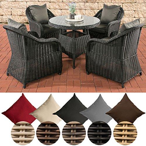 CLP Gartengarnitur FARSUND I Polyrattan-Sitzgruppe mit 4 Sitzplätzen I Gartenmöbel-Set bestehend aus 4 Sesseln und einem Esstisch I In verschiedenen Farben erhältlich Rattan Farbe natura, Bezugfarbe: Rubinrot