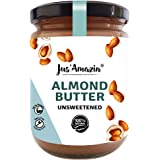 Jus' Amazin Creamy Almond Butter - Unsweetened (500g) | 25% Protein | Plant-Based Nutrition | 100% Almonds | Zero Additives |
