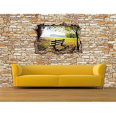dalinda® Diseño Papel pintado en efecto 3d Park Banco en otoño piedra natural Muro claro Papel pintado vt2320