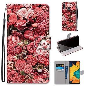 Miagon Flip PU Leder Schutzhülle für Samsung Galaxy A20S,Bunt Muster Hülle Brieftasche Case Cover Ständer mit Kartenfächer Trageschlaufe,Rose