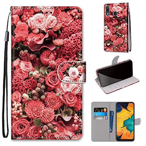 Miagon Flip PU Leder Schutzhülle für Samsung Galaxy A20e,Bunt Muster Hülle Brieftasche Case Cover Ständer mit Kartenfächer Trageschlaufe,Rose