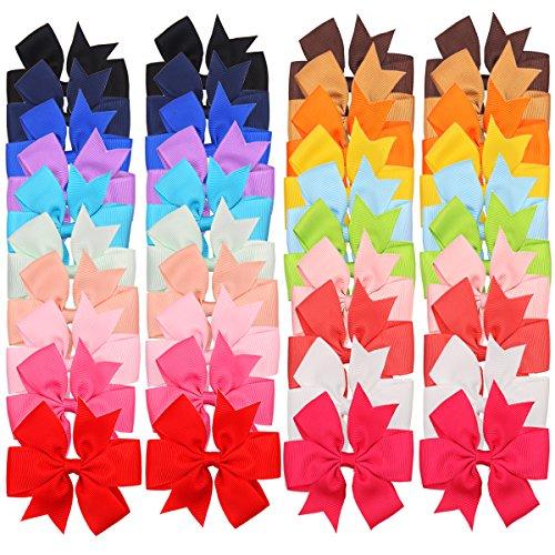 40Stück Boutique Baby Mädchen Haar Clips Blume Ripsband Schleifen für Kleinkinder Teens Kinder Little Mädchen Haarspangen 20Farben (Baby-bögen Boutique)