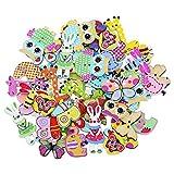 Gemini_mall 50x Mixed Cartoon Animal 2 Holes Wooden Buttons Sewing Craft Scrapbooking DIY