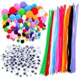 Pompoms, Auto-collant Wiggle Googly Eyes, Tiges de Chenille Pour Les Fournitures d'art Artisanat DIY, 450 Pieces