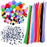 Outus Pompoms, Auto-collant Wiggle Googly Eyes, Tiges de Chenille Pour Les Fournitures d'art Artisanat DIY, 450 Pieces