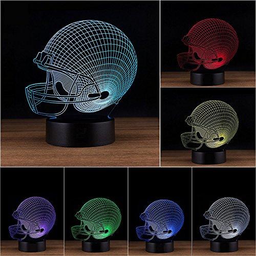 ng Schreibtischlampe / 3D Optische Täuschung Nachtlicht, Einstellbare 7 Farben LED Touch-Taste, Fußball Helm 3D Licht, Weihnachtsgeschenk Für Kinder / Jungen / Männer / Fußball-Liebhaber (Die Zimmer Der Fußball-szene)