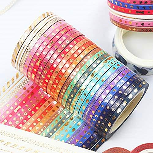 Little Roger 24 Rolls dünne Washi Tape Set - 3mm Glitzer Klebeband Dekoband für Scrapbooking Dekotion DIY Handwerk Party Supplies und Geschenkverpackung,Süße Designs,zum Basteln