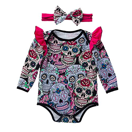 OverDose Damen Neugeborenen Baby Mädchen Langarm Halloween Cartoon Schädel Horror Individualität Design Weiche Spielanzug Overall Kleid (Gesicht Bemalen Für Halloween-schädel)