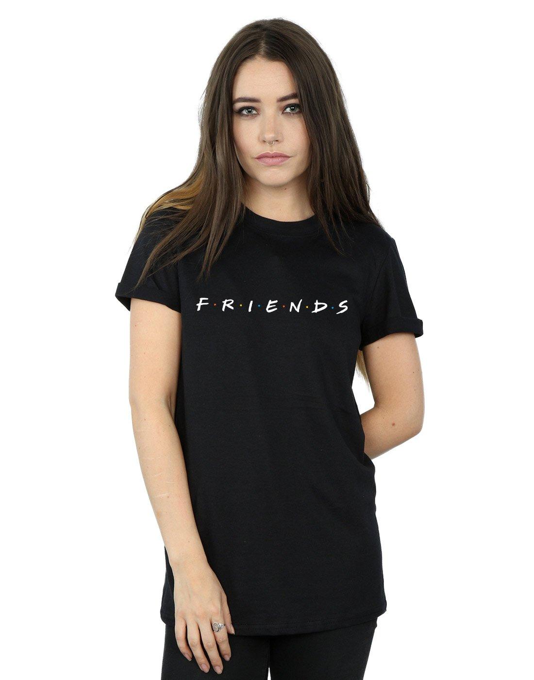 61zb76sXysL - Absolute Cult Friends Mujer Text Logo Camiseta del Novio Fit