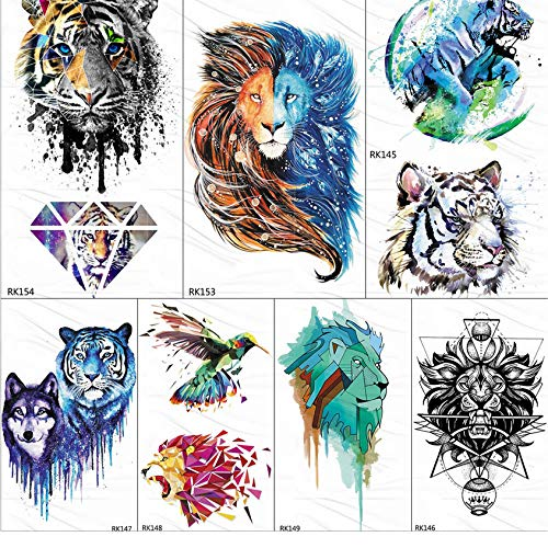 yyyDL Gagalxy Aquarell Löwe Tiger Temporäre Tattoos Aufkleber Diamant Unentschieden Fake Tattoo Body Art Arm Flash Tatoos Papier Frauen Männer 10 * 6 cm 7 stücke (Das Ohr Für Olivenöl)