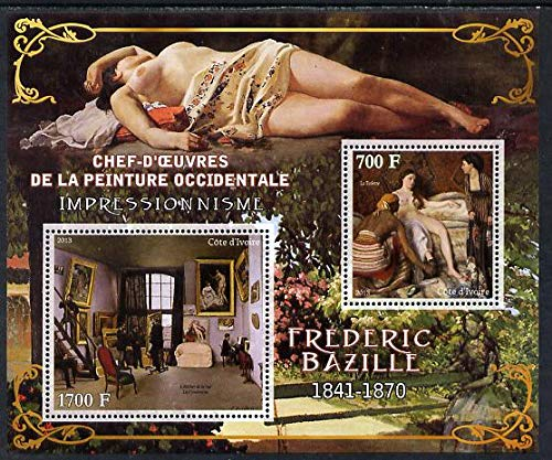 Ivory Coast 2013 Art Masterpieces from the Western World - Impressionism - Frederic Bazille perf sheetlet 2 values u/m ARTS IMPRESSIONISM BAZILLE NUDES JandRStamps