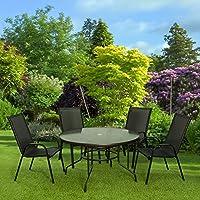 Habita Home Conjunto Comedor para Jardín 100x70/57x95 Color Negro