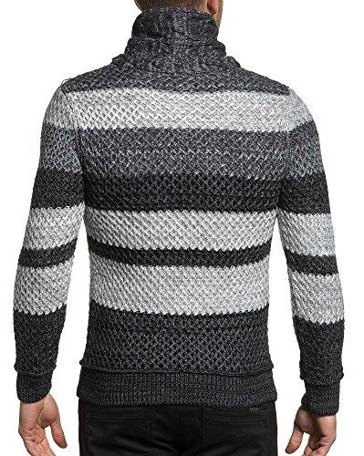 BLZ jeans - Pullover homme hiver col roulé gris à rayures Gris