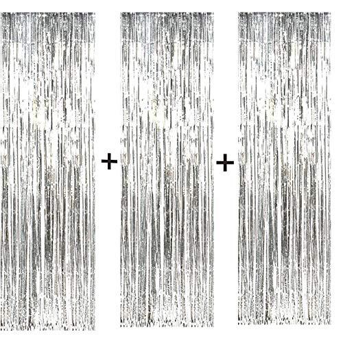 Anyasen Lametta Silber Folie Fringe Vorhänge Metallfolie Fringe Hintergrund für Geburtstag Hochzeit Dekorationen (Silber 3pack)