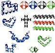 gotyou 15 Pezzi 24 Blocchi Mini Cubo di Serpente Magici,Plastica Righello Magico,Sviluppo Giocattolo dell'Intelligenza dei Bambini,Regalo di Festa(Colore Casuale)