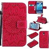 Galaxy S4 Hülle, Dfly Premium Slim PU Leder Mandala Blume prägung Muster Flip Hülle Bookstyle Stand Slot Schutzhülle Tasche Wallet Case für Samsung Galaxy S4 i9500, Rot