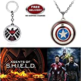 (2 Pcs AVENGER SET) - AGENTS OF S.H.I.E.L.D KEYCHAIN & CAPTAIN AMERICA REVOLVING SHIELD IMPORTED PENDANT. LADY HAWK DESIGNER SERIES 2018. ❤ ALSO CHECK FOR LATEST ARRIVALS - NOW ON SALE IN AMAZON - RINGS - KEYCHAINS - NECKLACE - BRACELET & T