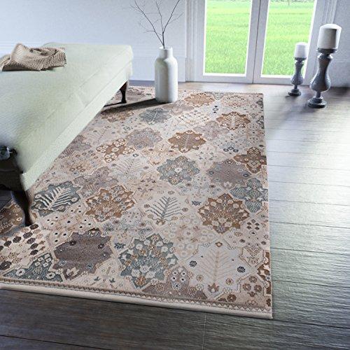 Patchwork-orientalische Teppiche (Traditioneller Klassischer Teppich für Ihre Wohnzimmer - Braun Creme Grau - Patchwork Perser Orientalisches Muster - Top Qualität Pflegeleicht