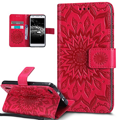 Coque Huawei Honor 6,Etui Huawei Honor 6,ikasus Embosser Gaufrage fleur soleil Housse Cuir PU Housse Etui Coque Portefeuille Protection supporter Flip Case Etui Housse Coque pour Huawei Honor 6,rouge