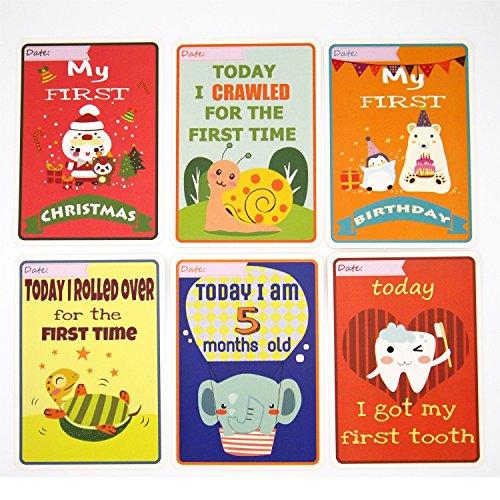 Baby Milestone Cards New Baby Dusche Mutter Geschenk Erinnerungsschachtel für Neugeborene Monter Vater für Foto-Bilder Gedenken 32Karten