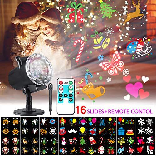 LED Projektionslampe, Bosunny Weihnachtsprojektor Lichter mit 16 Austauschbare Patterns und RF-Fernbedienung für Weihnachten, Geburtstag, Neujahr, Valentinstag, Ostern, Party