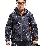 YuanDiann Homme Tactique Camouflage Veste Softshell Automne Hiver Outdoor Armée Militaire Polaire Doublée Blouson Imperméable
