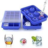 ZeaLife Silikon Eiswürfelform 2 Stück Flexible Eiswürfelformen Eiswürfelbehälter mit Deckel, Leichtes Herauslösen der Eiswürfel Eiskugelform BPA Frei Ice Cube Tray für Whisky Cocktails Saft