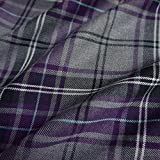 Grey & Purple Poly Viscose Tartan Fabric (Per Metre) by