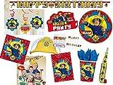 Amscan/Diverse 85-Teiliges XL-Partyset für Feuerwehrmann Sam Mottoparty Neues Design - Alles Komplett für 8 Kinder
