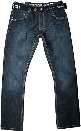 Crosshatch Men's New-Techno Straight fit Darkwash Belt Jean