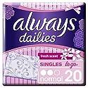 Always Dailies Singles To Go Fraîcheur Pack de 20 Protège-Slips Flexible/Confortable