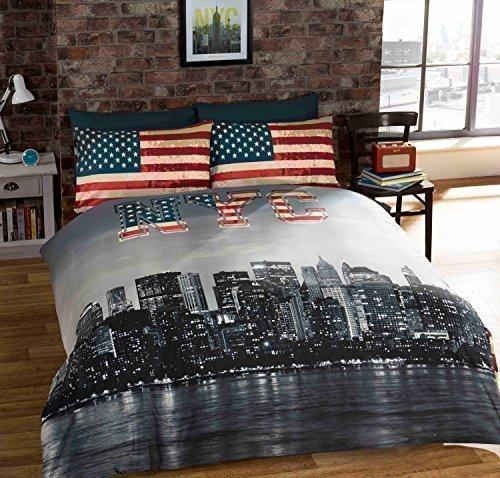 einzeln New York City Amerikanischer umkehrbar Baumwollmischung blau Bettdecke Bettbezug (Bettbezug New York City)