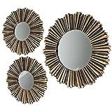 LS-LebenStil 3X Vintage Wand-Spiegel Set Ø 25cm & 35cm Rahmen Gold Schwarz Spiegelfläche Silber Rund Sonne 3-Fach Spiegel-Set
