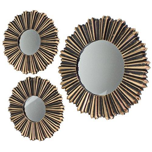 LS-Design 3X Vintage Wand-Spiegel Sonne Set Ø 25cm / 35cm Rahmen Gold Schwarz 3-Fach