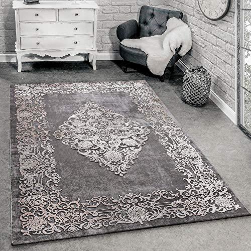Paco Home Designer Teppich Modern Wohnzimmer Teppiche 3D Barock Muster In Grau Beige Creme, Grösse:120x170 cm