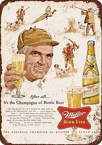 1954Miller cerveza y reproducción de caza de faisán Vintage Look Metal Tin Sign 12x 18pulgadas