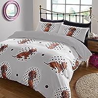 Dreamscene–lunares perro Animal Juego de cama de funda de edredón con fundas de almohada, multicolor, doble