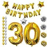 Belle Vous Globos Fiesta Cumpleaños Suministros y Decoración - Set Todo En Uno - Globo Grande de Aluminio - Decoración Globo de Látex Dorado y Plateado - Decoración Apta para Adultos Hombres y Mujeres (Age 30)