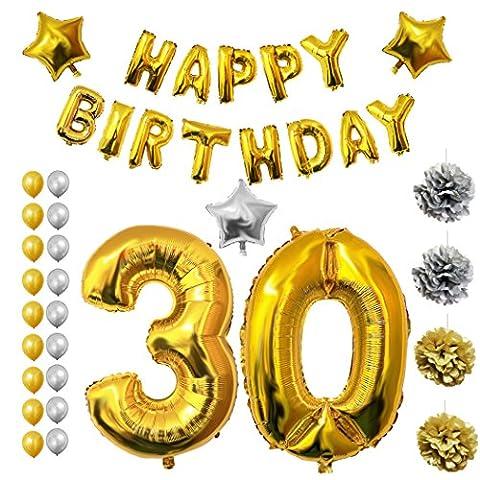 Ballons Fête 30ème Anniversaire Happy Birthday, Fournitures & Décorations par Belle Vous – Kit complet - Gros Ballon 30 Ans en Aluminium - Ballons Décoratifs en Latex Or & Argent - Décors Adaptés pour les Adultes Hommes & Femmes