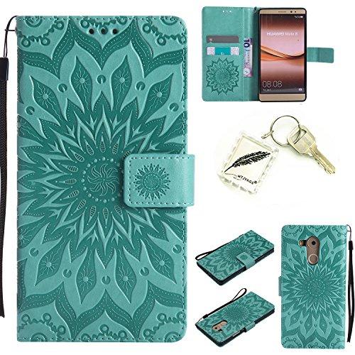 Silikonsoftshell PU Hülle für Huawei Mate 8 (6 Zoll) Tasche Schutz Hülle Case Cover Etui Strass Schutz schutzhülle Bumper Schale Silicone case(+Exquisite key chain X1)#KD (1)