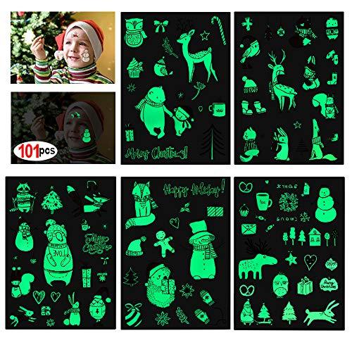 Howaf Weihnachts kindertattoos Set, 101 x im Dunkeln leuchten Temporäre Tattoos für Mädchen Jungen Spielen Kinder Weihnachts Geschenktüten Weihnachts Party Kindergeburtstag Mitgebsel