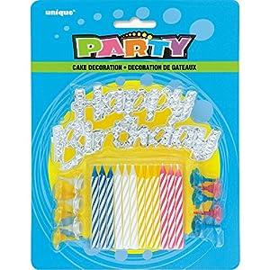Rayas velas de cumpleaños con los titulares y feliz cumpleaños decoración de la torta, Set de 25 , Modelos/colores Surtidos, 1 Unidad