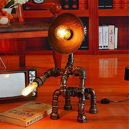 BZJBOY Lampada da Scrivania epoca industriale Steampunk in ferro battuto Water Horse tubi da tavolo lampada da letto soggiorno dimmerabile fatti a mano luce da tavolo Lampada da tavolo a studiare