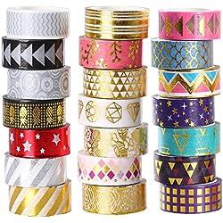 Juego de 21 rollos de cinta adhesiva decorativa para Navidad 15 mm de ancho, color dorado