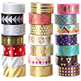 Lamina d' oro decorativo Washi tape set di 21 rotoli, 15 mm di larghezza nastro adesivo Collection per DIY Crafts Wrapping by Ieebee