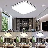 ETiME 64W LED Deckenleuchte Dimmbar Deckenlampe Modern Wohnzimmer Lampe Schlafzimmer Küche Panel Leuchte 2700-6500K mit Fernbedienung Silber (65x65cm 64W Dimmbar)