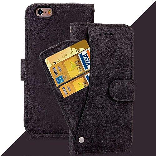 Wkae Case Cover IPhone 6s plus Cover Case Embossed Flowers Retro Folio haut de gamme étui en cuir PU fermeture magnétique Porte-monnaie stand style Dragonne couvrir les cas Apple iPhone6s plus ( Color Black
