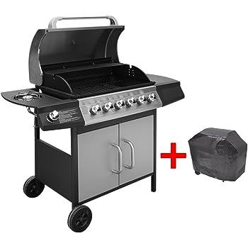 vidaXL Barbecue a gas 6+1 fornelli nero e argento