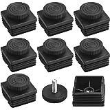 CODIRATO 8 stuks vierkante meubelpoten verstelbare poten voetkappen meubels buisstoppen lamellenstoppen met schroefdraadsteel